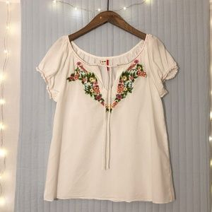 Old Navy Embroidered Boho Peasant Top Sz. Med